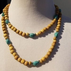 Wood beaded necklace.